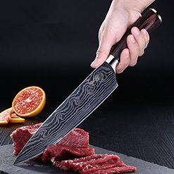 Chef Knife, Kosiehouse High Carbon Stainless Steel Professional 5Cr15Mov Kitchen Knife with Razor Sharp Blade, Damascus Pattern, Ergonomics Handle, Perfect Cutlery Knives for Home Chefs and Cooks