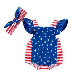 Queind New Baby Girls Romper Toddler Stripe Star Printed Outfits with Headband Bodysuits Dark Blue