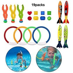 Baorin Swimming Toys Diving Rings Torpedo Bandits with Under Water Treasures Gift Set Dive Rings & Toys