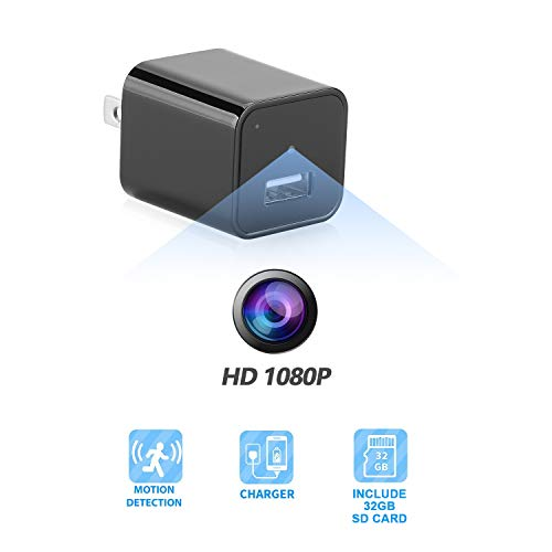 USB Charger Camera - Hidden Camera - Mini Spy Camera 1080p - Hidden Nanny Cam - Hidden Spy Cam - Hidden Cam - Surveillance Camera Full HD - No Wi-Fi Needed (Hidden Camera Plus SD Card)