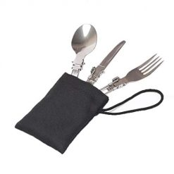 Erholi Folding Stainless Steel Knife Fork Spoon Outdoor Tableware Cutlery Set Flatware Sets