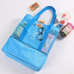 Queind Portable Insulated Thermal Picnic Lunch Box Double Layer Shoulder Bag Lunch Bags