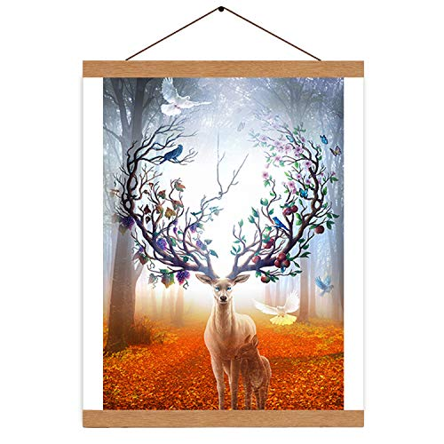"""Amabana Poster Frame, Upgrade Dual-Use 12"""" and 24"""" Magnetic Wooden Frame Hanger for Posters Prints Photo Picture Canvas Artwork Art Print Wall Hanging(Teak Wood)"""