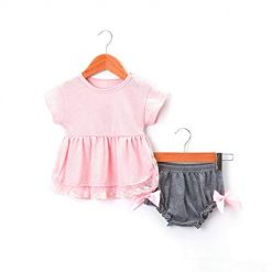 Baby Girls Two-Piece Set Casual O-Neck Short Sleeve Bow Pleated Dress Shorts Clothing Sets