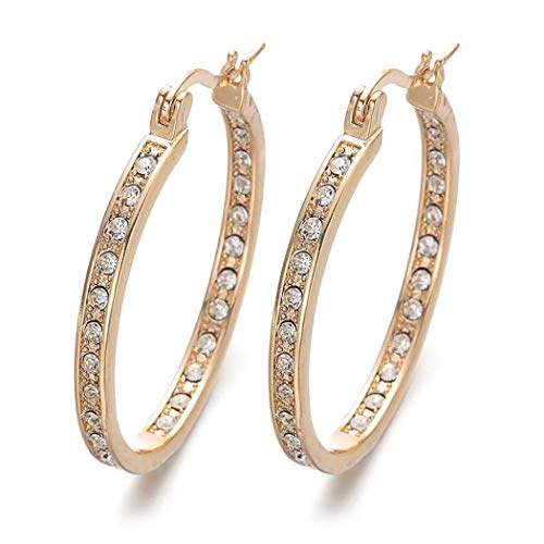 Adoeve Women Casual Snap Closure Rhinestone Hoop Earrings Ear Decoration Accessories Hoop
