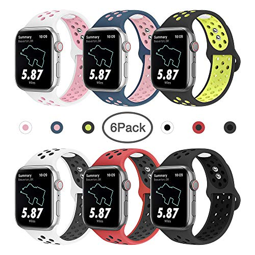 MITERV Sport Bands Compatible with Apple Watch 38mm 42mm 40mm 44mm iWatch Bands Replacement for Apple Watch Series 4 Series 3 Series 2 Series 1 Women Men 6 Colors 38mm/40mm S/M