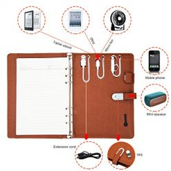 Business Portfolio Notebook,Filofax Notebook,Reporters Notebook,Field Notebook, Refillable Notebook,Business Notebook,Multi-Function Notebook with 16G Flash Disk and 10000MA Power Bank(6.4