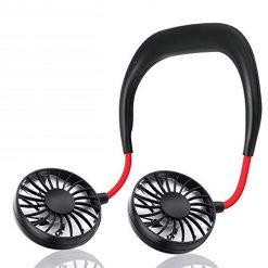 Liuchengxian Mini USB Fan Headphone Design Personal Wearable Neckband Fan Portable USB Battery Rechargeable Fan Cooler Fan 3 Speed Control Adjustable Wind Head for Traveling Outdoor Office Room