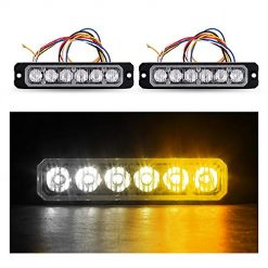 GPPOWER Car Truck Emergency Strobe Light, Sync Feature 16 Patterns Flash Warning Surface Mount light for Vehicle - Amber/White