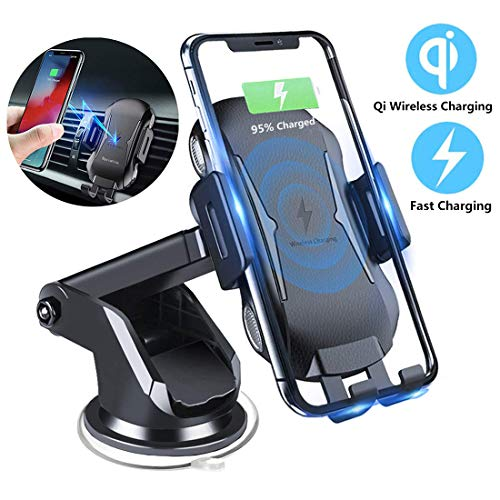Car Mount Wireless Charger, Qi Wireless Car Charger, Auto-Clamping Air Vent Dashboard Cell Phone Holder, 7.5W/10W Fast Charger Compatible with iPhone Xs/Xs Max/X/XR/8/8 Plus, Samsung S10/S9/S8/S8+