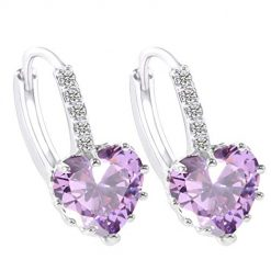 Etuoji Women Jewelry Fashion Heart Shape Zircon Earrings Gift Stud