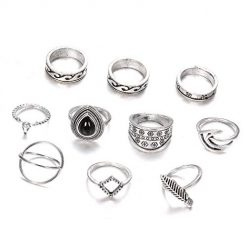 Asatr 10pcs Fashion Rings Retro Totem Carved Black Gemstone Ring Set Jewelry Gift Rings
