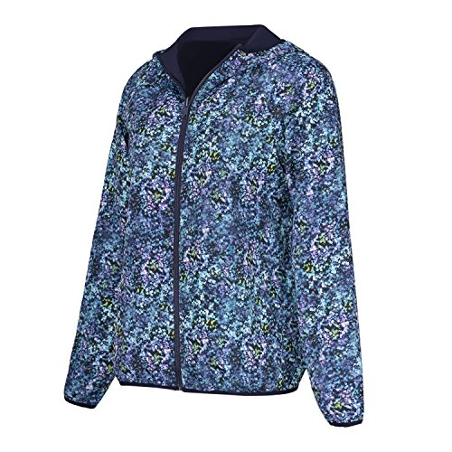 Women's Workout Reversible Zip-up Printed Track Yoga Jacket Full Zipper Long Sleeve with Hood