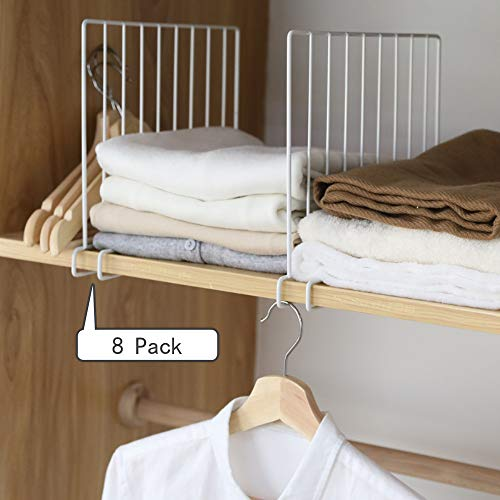 Kosiehouse Metal Wire Closet Shelf Organizer Divider, Separator for Storage in Bedroom, Kitchen, Bathroom and Office Shelves, Easy Installation, Set of 8, White
