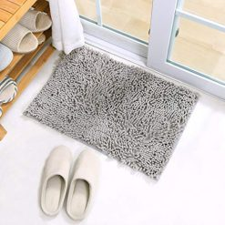 """X·SOAR-Bath mats for Bathroom, Soft and Shaggy Rugs Washable and Comfortable,Non Slip,Fast Dry Absorbent Water Kitchen Rugs. (16""""×24"""" inch, Light Gray)"""