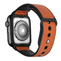 Woneira Compatible with iWatch Leather Band, Sweatproof Genuine Leather and Rubber Hybrid Band Strap 44mm 42mm Compatible with iWatch Series 4, 3, 2,1 Sport Edition, Brown (42mm/44mm)