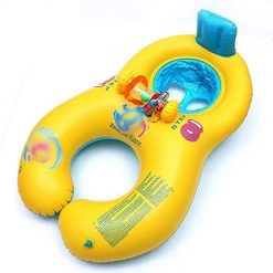 Caiuet Inflatable Baby Swimming Ring,Mommy and Me Swimming Pool Baby Rider, Double Person Inflatable Float Seat Swimming Ring Seat