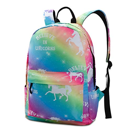 Nidoul Unicorn School Travel Backpack for Teen Boys Girls Colorful Rainbow Shoulder Bag
