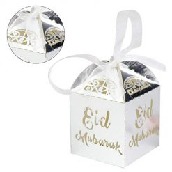 dacyflower 50 Pcs/Bag Candy Gift Box, EID Chocolate Gift Box with Ribbon, Suitable for Birthday Party, Christmas and Party, Wedding Baptismal Welfare Box, Collection Box