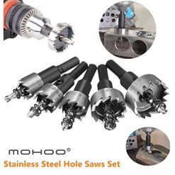 MOHOO 5PCS 16-30MM HSS Drill Bit Hole Saws Set Stainless High Speed Steel Metal Alloy