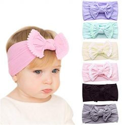 Subesty Baby Girls Nylon Headband Baby Elastic Knotted Turban Head wraps Bows For Newborn Infant Toddler Set Of 6