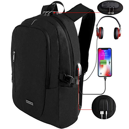 Laptop Backpack with USB Charging Port Anti-Theft[Water Resistant] College Bookbag School Business Travel Backpack Computer Backpack for Men Women Fits up to 16-inch Notebook (Black)