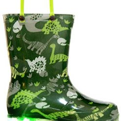 MOFEVER Toddler Rain Boots Boys Kids Light Up Printed Waterproof Shoes Lightweight Cute Green Dinosaur with Easy-On Handles and Insole (Size 7,Green)