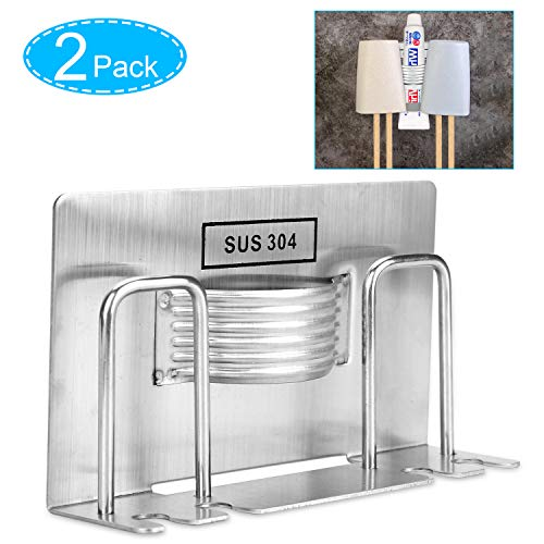 Samshow Toothbrush Holder Stainless Steel Adhesive Wall Mounted Tooth Brush Holder Accessories for Bathroom Lavatory Home Storage & Organizer - 2 Pack