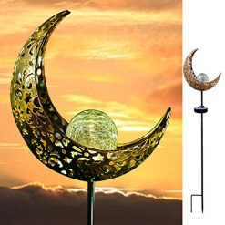 AMWGIMI Garden Solar Light Outdoor Decorations, Moon Decor, Crackle Glass Ball Metal Garden Stake Light,Waterproof LED Lights for for Pathway, Lawn, Patio, Yard