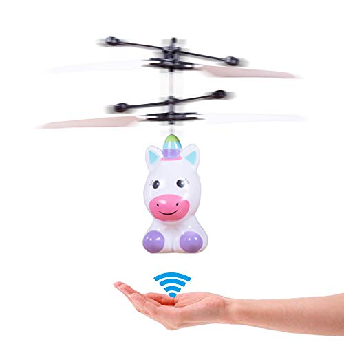 PALA PERRA RC Helicopter Flying Toys with Rechargeable Mini Infrared Induction Drone, RC Toys for Kids Boys Girls Indoor Games (Flying Unicorn)