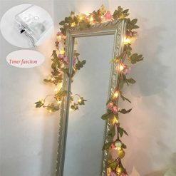 Gogos 2 M 20 LED Flower Leaf Garland Battery OperateD Silver Fairy String Lights For Christmas Wedding Decoration Party Event