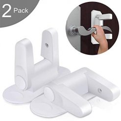Door Lever Lock (2 Pack), Child Proof Safety Doors & Handles Lock with 3M Adhesive, No Drilling Need