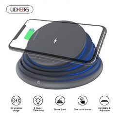 licheers Foldable LED Mood Night Light Wireless Charger Stand Compatible with iPhone X/8/8Plus/Samsung S9 /S8 /Note 7 (Black)