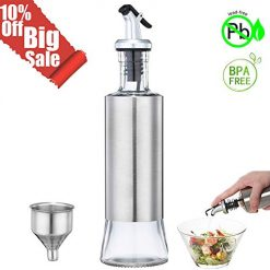 Olive Oil Bottle, Vinegar and Sauce Dispenser, 11ounce/300milliliter Olive Oil Dispenser with Drip-Free Spout and Stainless Steel Funnel for Kitchen BBQ Camping