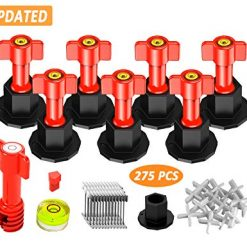 Tile Leveling System kit 2019 Updated Version Reusable Tile tools with Bubble Leveler Tile kit Installation Tools Replaceable Metal Needle Tile Spacer 1/16 inch - 275pcs