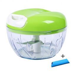 Manual Garlic Chopper Grinder with Peeler Hand Pull Food Slicer 3 Blades Cutting Mix for Fruit, Vegetable, Onion,Tomato