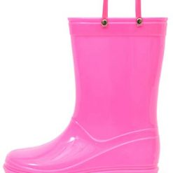 Outee Kids Girls Rain Boots Waterproof Shoes Pink Lightweight Solid Cute Lovely Funny with Easy-On Handles Classic Comfortable Removable Insoles Anti-Slippery Durable Sole with Grip (Size 1,Pink)