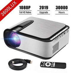 Video Projector Seeback 1080P Full HD LED Projector 3600 Lumens 30,000 Hrs Multimedia Home Theater Movie Projector for Indoor/Outdoor 150 Inch Compatible with USB/HDMI/SD/AV/VGA