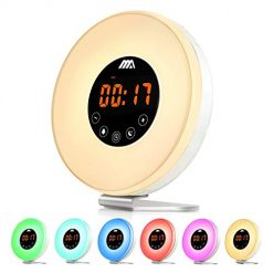 Wake- Up Light, Alarm Clock 7 Colored Sunrise Simulation & Sleep Aid Feature, Dual Alarm Clock with FM Radio, 7 Natural Sound and Snooze for Kids Adults Bedrooms