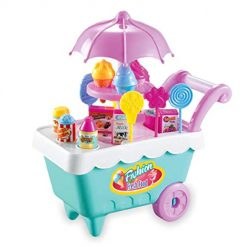 Asatr 19Pcs Kids Rotating Ice Cream Candy Pretend Play Food Supermarket Trolley Toys Blocks