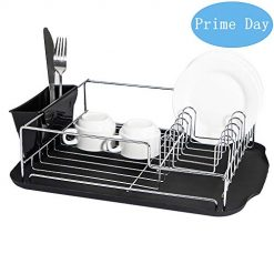 ADDMIRRE Black Drain Board Rustproof Kitchen Dish Drying Rack,with Utensil Holder