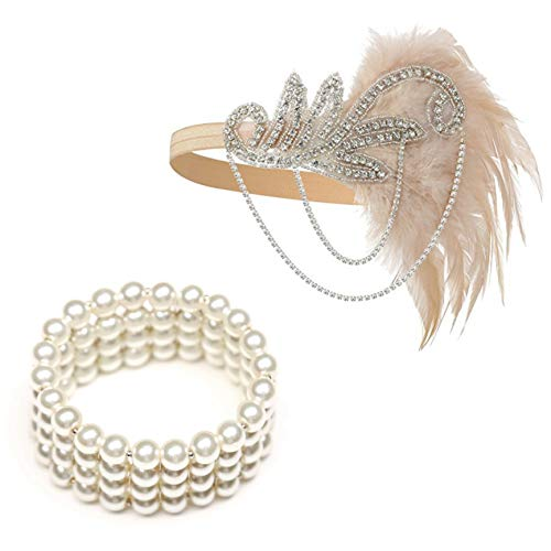 1920's Flapper Headbands Great Gatsby Inspired 20s Headpiece Flapper Costume Accessories (Champagne)