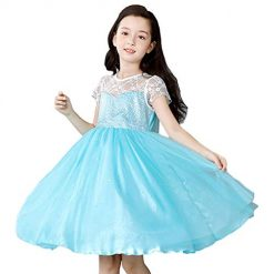 LEHNO Snow Queen Princess Elsa Costumes for Girls Birthday Party Dress Up for Little Girls (8911#Short Sleeve, 7-8Y-140cm)