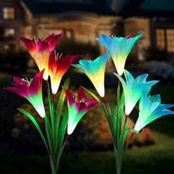 Tvird Outdoor Solar Garden Stake Lights,Solar Garden Lily Lights,2 Sets Solar Flowers with 8 Flowers,Multi-Colors Changing LED Decorative Lights Suit for Garden,Patio, Backyard(Purple and Blue)Tvird Outdoor Solar Garden Stake Lights,Solar Garden Lily Lights,2 Sets Solar Flowers with 8 Flowers,Multi-Colors Changing LED Decorative Lights Suit for Garden,Patio, Backyard(Purple and Blue)