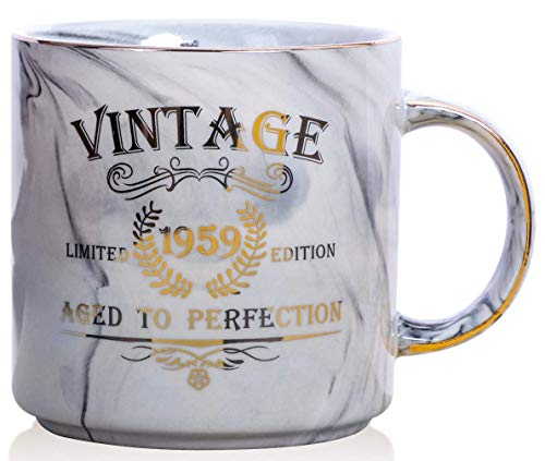 CQNET 1959 60th Birthday Gifts for Women and Men Ceramic Mug, Funny Vintage 1959 Aged to Perfection, Idea for Him or Her, Ceramic Marble Cups 13oz (Grey)
