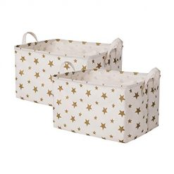 SHINYTIME Canvas Storage Baskets Bins Large Laundry Baskets Room Organizer for Kids Pets Toy Home Laundry Room Closet (Star-2pcs)