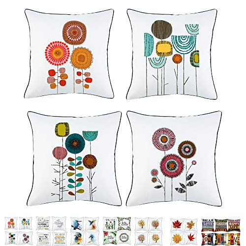 "Onice Sivaha Idyllic Life Flower Throw Pillow Case,Abstract Painting Cushion Cushion,Decorative Square Cuhshion Covers,Creativity Pillowcase with Piping 18"" x 18"" 45cm x 45cm (Free Flower A,Set of 4)"
