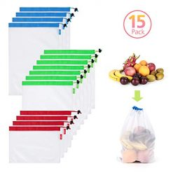 15 PCS Reusable Mesh Produce Bags, AsianiCandy See Through Washable Mesh Bags with Tare Weight on Tags for Grocery Shopping & Fruit Vegetable Toys Storage