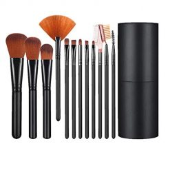 Shiratori Makeup Brush Set with Holder 12Pcs Makeup Brushes Premium Synthetic Foundation Brush Blending Face Powder Blush Concealers Eyeshadow Make Up Brushes Kit - Black