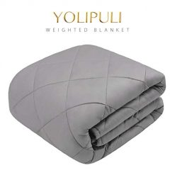 YOLIPULI-Weighted-Blanket-Adult-15-lbs, 60 x 80 Inches Queen Size Heavy Blanket, 100% Organic Cotton with Cooling Glass Beads